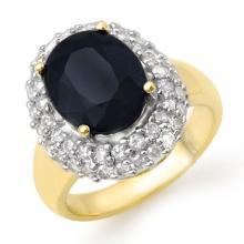 Natural 5.0 ctw Blue Sapphire & Diamond Ring 14K Yellow Gold - 13090-#86W7K
