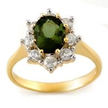 Natural 2.50 ctw Green Tourmaline & Diamond Ring 14K Yellow Gold - 11108-#68H3W