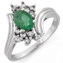 Natural 0.80 ctw Emerald & Diamond Ring 18K White Gold - 10664-#41K2T