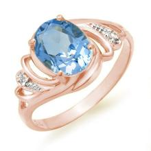 Natural 2.53 ctw Blue Topaz & Diamond Ring 18K White Gold - 12668-#30F2M