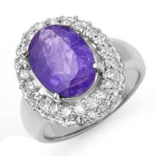 Genuine 5.40 ctw Tanzanite & Diamond Ring 18K White Gold - 13389-#164A2N