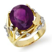 Genuine 8.54 ctw Amethyst & Diamond Ring 14K Yellow Gold - 13803-#78Y2V