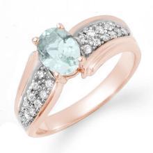 Genuine 1.20 ctw Aquamarine & Diamond Ring 14K Rose Gold - 14521-#42A5N