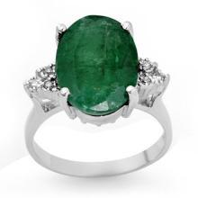 Natural 6.35 ctw Emerald & Diamond Ring 14K White Gold - 13354-#75W8K