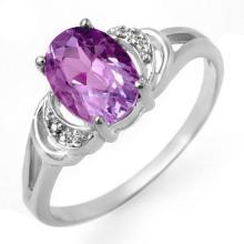 Genuine 1.05 ctw Amethyst & Diamond Ring 18K White Gold - 12303-#21K8T