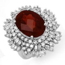 Genuine 13.25 ctw Pink Tourmaline & Diamond Ring 18K White Gold - 14209-#381V7A