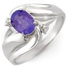 Genuine 1.02 ctw Tanzanite & Diamond Ring 18K White Gold - 10597-#33H3W