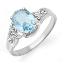 Genuine 1.26 ctw Blue Topaz & Diamond Ring 10K White Gold - 12351-#15K5T