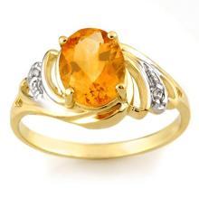 Genuine 2.04 ctw Citrine & Diamond Ring 10K Yellow Gold - 10697-#15P3X