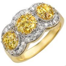 Genuine 2.0 ctw Yellow Sapphire & Diamond Ring 14K Yellow Gold - 10835-#62P5X