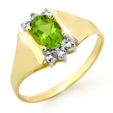 Natural 1.28 ctw Peridot & Diamond Ring 10K Yellow Gold - 13466-#13W5K