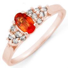 Genuine 0.50 ctw Orange Sapphire & Diamond Ring 14K Rose Gold - 10475-#20M8G