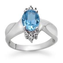 Natural 1.54 ctw Blue Topaz & Diamond Ring 18K White Gold - 12324-#33T2Z