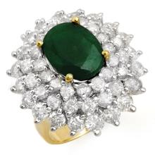 Genuine 10.02 ctw Emerald & Diamond Ring 14K Yellow Gold - 13305-#305M2G