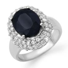 Genuine 5.0 ctw Blue Sapphire & Diamond Ring 18K White Gold - 13091-#101A3N