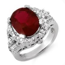 Natural 5.65 ctw Rubellite & Diamond Ring 14K White Gold - 10408-#157H2W