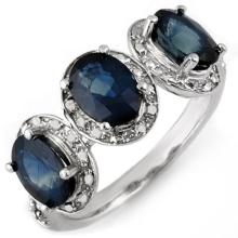 Genuine 3.08 ctw Blue Sapphire & Diamond Ring 10K White Gold - 11167-#24H2W