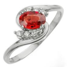 Genuine 0.70 ctw Red Sapphire & Diamond Ring 18K White Gold - 10255-#28W8K