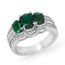 Genuine 3.50 ctw Emerald & Diamond Ring 18K White Gold - 14281-#124T3Z