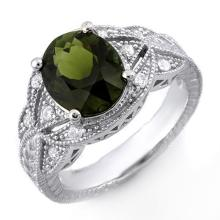 Natural 3.25 ctw Green Tourmaline & Diamond Ring 10K White Gold - 10182-#71Z2P