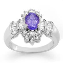 Genuine 1.76 ctw Tanzanite & Diamond Ring 18K White Gold - 10567-#83W2K