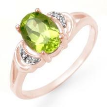 Genuine 1.55 ctw Peridot & Diamond Ring 14K Rose Gold - 13463-#15Y8V