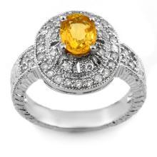 Genuine 2.08 ctw Yellow Sapphire & Diamond Ring 14K White Gold - 10787-#66M2G