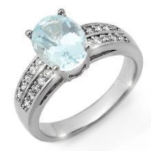 Natural 2.75 ctw Aquamarine & Diamond Ring 14K White Gold - 11306-#61M2G