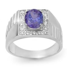 Genuine 2.75 ctw Tanzanite & Diamond Men's Ring 10K White Gold - 13421-#63H3W