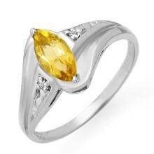 Genuine 0.36 ctw Citrine & Diamond Ring 18K White Gold - 12291-#23K8T