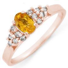 Natural 0.50 ctw Yellow Sapphire & Diamond Ring 10K Rose Gold - 10682-#17N8F