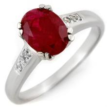 Natural 1.60 ctw Ruby & Diamond Ring 10K White Gold - 11296-#18G2R