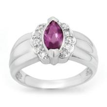 Natural 1.57 ctw Amethyst & Diamond Ring 18K White Gold - 13350-#68N2F