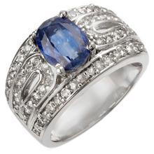 Natural 3.54 ctw Kaynite & Diamond Ring 18K White Gold - 10564-#144M5G