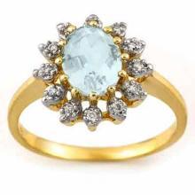 Natural 1.62 ctw Aquamarine & Diamond Ring 10K Yellow Gold - 11500-#24T5Z