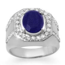 Natural 5.75 ctw Sapphire & Diamond Men's Ring 10K White Gold - 14496-#86P7X