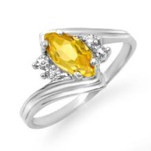 Genuine 0.48 ctw Citrine & Diamond Ring 10K White Gold - 12815-#12M2G