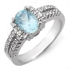 Natural 1.55 ctw Aquamarine & Diamond Ring 10K White Gold - 11170-#47T3Z