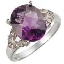 Genuine 3.70 ctw Amethyst & Diamond Ring 10K White Gold - 10841-#29M2G