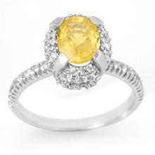 Natural 2.10 ctw Yellow Sapphire & Diamond Ring 14K White Gold - 11056-#53W8K