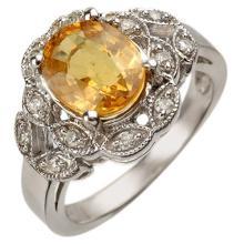 Genuine 3.75 ctw Yellow Sapphire & Diamond Ring 10K White Gold - 10859-#51V7A