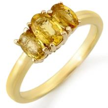 Natural 1.18 ctw Yellow Sapphire Ring Solid 10K Yellow Gold - 10676-#18X3Y
