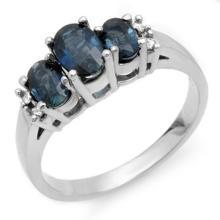 Genuine 1.34 ctw Blue Sapphire & Diamond Ring 10K White Gold - 10535-#20N2F