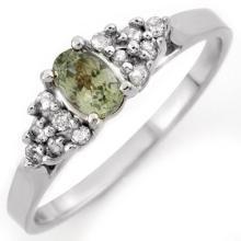 Natural 0.50 ctw Green Sapphire & Diamond Ring 18K White Gold - 10394-#27V2A