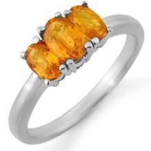 Natural 1.18 ctw Orange Sapphire Ring 18K White Gold - 10464-#34K3T