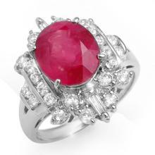 Genuine 5.15 ctw Ruby & Diamond Ring 18K White Gold - 12915-#107Z5P