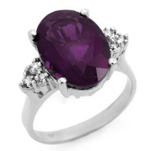 Genuine 5.15 ctw Amethyst & Diamond Ring 10K White Gold - 12933-#26Y7V