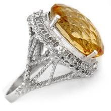 Genuine 16.59 ctw Citrine & Diamond Ring 10K White Gold - 10027-#43G8R