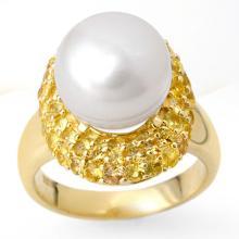 Genuine 2.0 ctw Yellow Sapphire & Pearl Ring 10K Yellow Gold - 10379-#42G5R