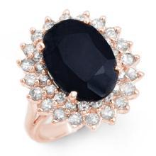 Natural 8.70 ctw Blue Sapphire & Diamond Ring 14K Rose Gold - 12884-#116V8A